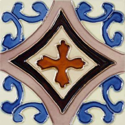 Solistone Hand Painted Mission Deco Tiles 6 x 6 Trebol