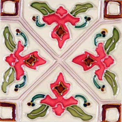 Solistone Hand Painted Mission Deco Tiles 6 x 6 Tulipan SOLTULIPAN