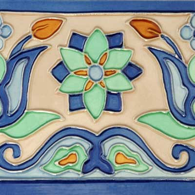 Solistone Hand Painted Mission Deco Tiles 6 x 6 Tulips