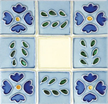 Solistone Hand Painted Mission Deco Tiles 6 x 6 Ventana SOLVENTANA