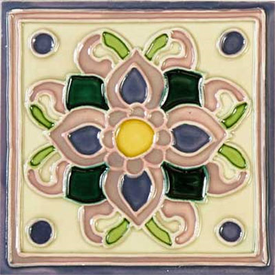 Solistone Hand Painted Mission Deco Tiles 6 x 6 Violetas SOLVIOLETAS