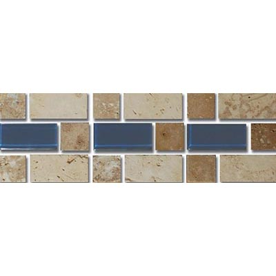 Tesoro Decorative Collection - Mardin 3 x 9 Listello Beige Noce Dark Blue Glass #71 OWTRMALI71