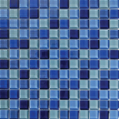 Tesoro Glass Mosaic - Aqua Color Blend 1 x 1 Bali KELU11AQBLBA