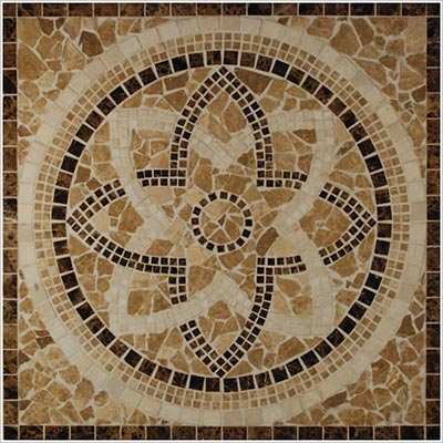 Tesoro Square Honed Medallion 36 x 36 Marble and Travertine Majorca DRIMAJMED