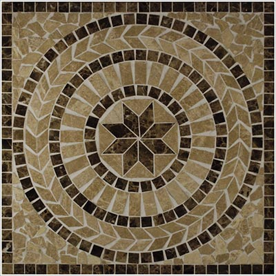 Tesoro Square Honed Medallion 24 x 24 Marble and Travertine Tinos DRIDRTINMED