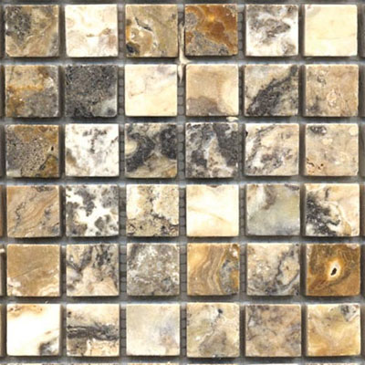 Tesoro Pietra Antica Tumbled Travertine and Marble Tumbled 1 x 1 Mosaic Sheet OWTMTO1x1