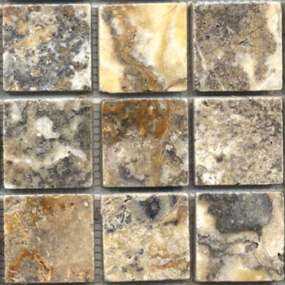 Tesoro Pietra Antica Tumbled Travertine and Marble Tumbled 2 x 2 Mosaic Sheet OWTMTO2x2
