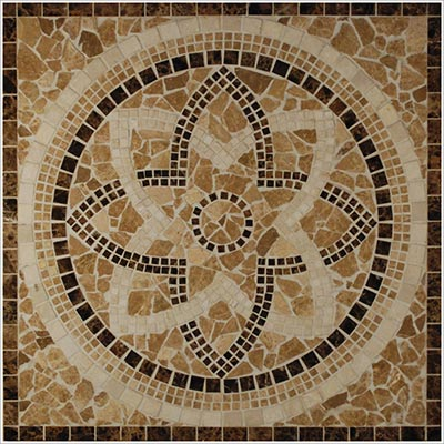 Tesoro Square Polished Medallion 24 x 24 Marble and Travertine Arta DRIARTMED