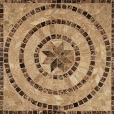 Tesoro Square Polished Medallion 24 x 24 Marble and Travertine Bari DRIOWPOBASQMED
