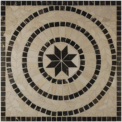 Tesoro Square Polished Medallion 24 x 24 Marble and Travertine Corfu DRIDRCFPOL24MED