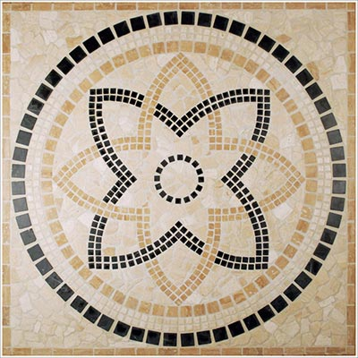 Tesoro Square Tumbled Medallion 36 x 36 Marble and Travertine Appia DRIAPPMED