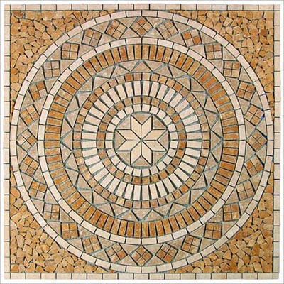 Tesoro Square Tumbled Medallion 36 x 36 Marble and Travertine Catalina OWTMCAMED