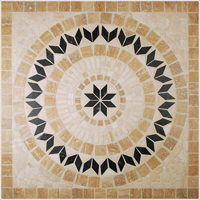 Tesoro Square Tumbled Medallion 36 x 36 Marble and Travertine Corsica DRICOSMED