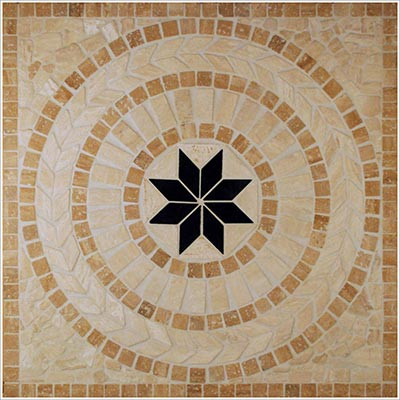 Tesoro Square Tumbled Medallion 36 x 36 Marble and Travertine Ephasus DRIEPHMED