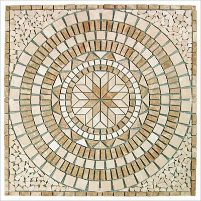 Tesoro Square Tumbled Medallion 36 x 36 Marble and Travertine Madrid OWTMMAMED