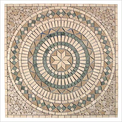 Tesoro Square Tumbled Medallion 36 x 36 Marble and Travertine Messina OWTMMEMED
