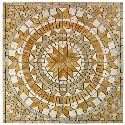 Tesoro Square Tumbled Medallion 36 x 36 Marble and Travertine Palmero OWTMPAMED