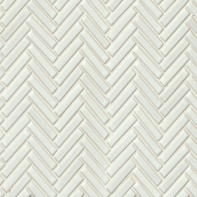 Bedrosians 90 Degree Herringbone Mosaic White