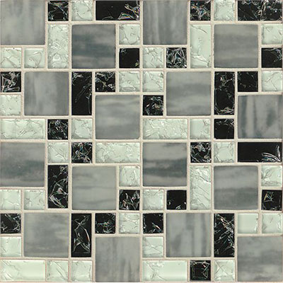 Tilecrest Ice Crackle Mosaic Gloss Black GLS MGICG7
