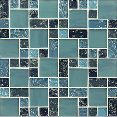 Tilecrest Ice Crackle Mosaic Gloss Blue GLS MGICG3