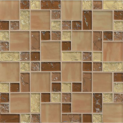 Tilecrest Ice Crackle Mosaic Gloss Tan GLS MGICG5
