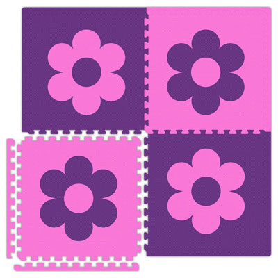 Alessco, Inc. Economy Reversible Soft Floors Pink w Purple Flower / Purple w Pink Flower EconomySfFlowerPKPE