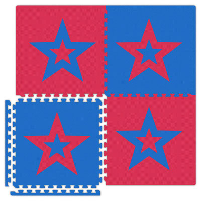 Alessco, Inc. Economy Reversible Soft Floors Red w Royal Blue Star / Royal Blue w Red Star EconomySfStarRBRD