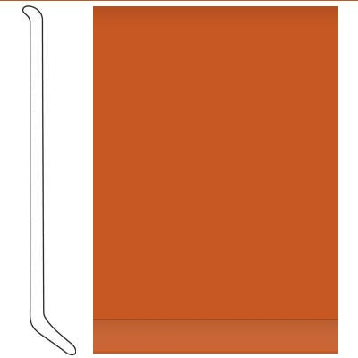 Johnsonite 6 Inch Baseworks ThermoSet Rubber Wall Base with Toe Tangerine Tango