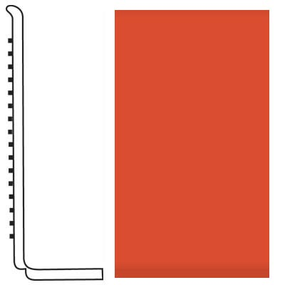 Roppe Pinnacle Rubber Wall Base 4 (Sanitary Toe Base) Tangerine 626