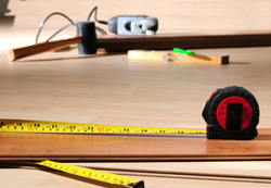 Tools from wood floor installation