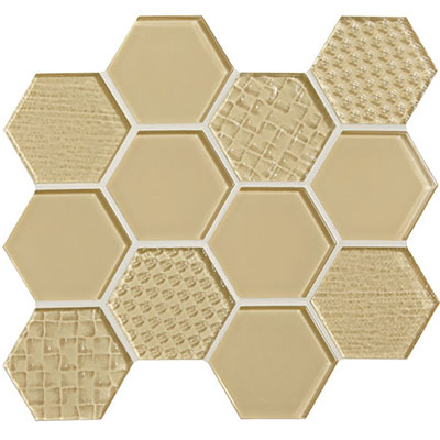 American Olean Color Appeal Felicity Hexagonal Multi-Structured Mosaic Cloud Cream