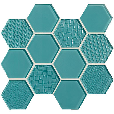 American Olean Color Appeal Felicity Hexagonal Multi-Structured Mosaic Fountain Blue