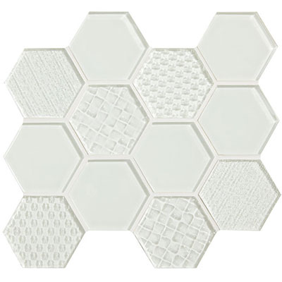 American Olean Color Appeal Felicity Hexagonal Multi-Structured Mosaic Pearl
