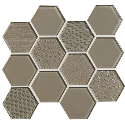 American Olean Color Appeal Felicity Hexagonal Multi-Structured Mosaic Plaza Taupe