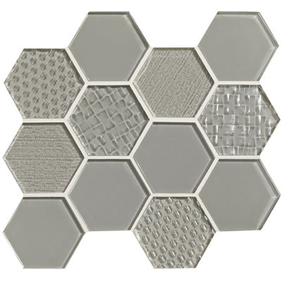 American Olean Color Appeal Felicity Hexagonal Multi-Structured Mosaic Silver Cloud
