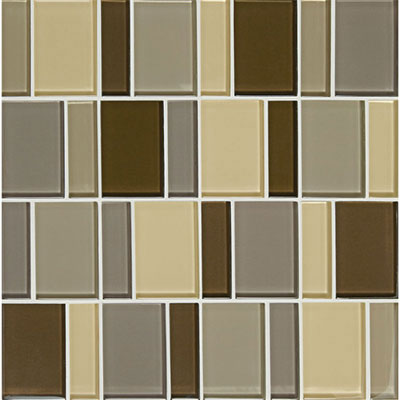 American Olean Color Appeal Renewal Block Random Glass Mosaic Pecan Grove