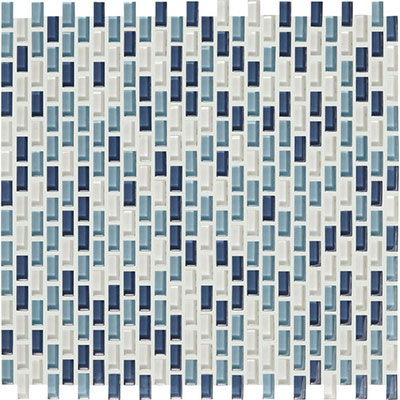 American Olean Color Appeal Renewal Chain Link Glass Mosaic Blue Moon