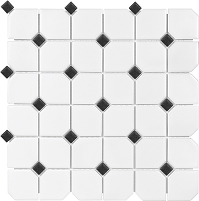 Anatolia Tile & Stone Soho Mosaic 2 x 2 with Dot White with Black Dot