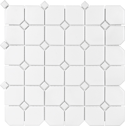 Anatolia Tile & Stone Soho Mosaic 2 x 2 with Dot White with White Dot