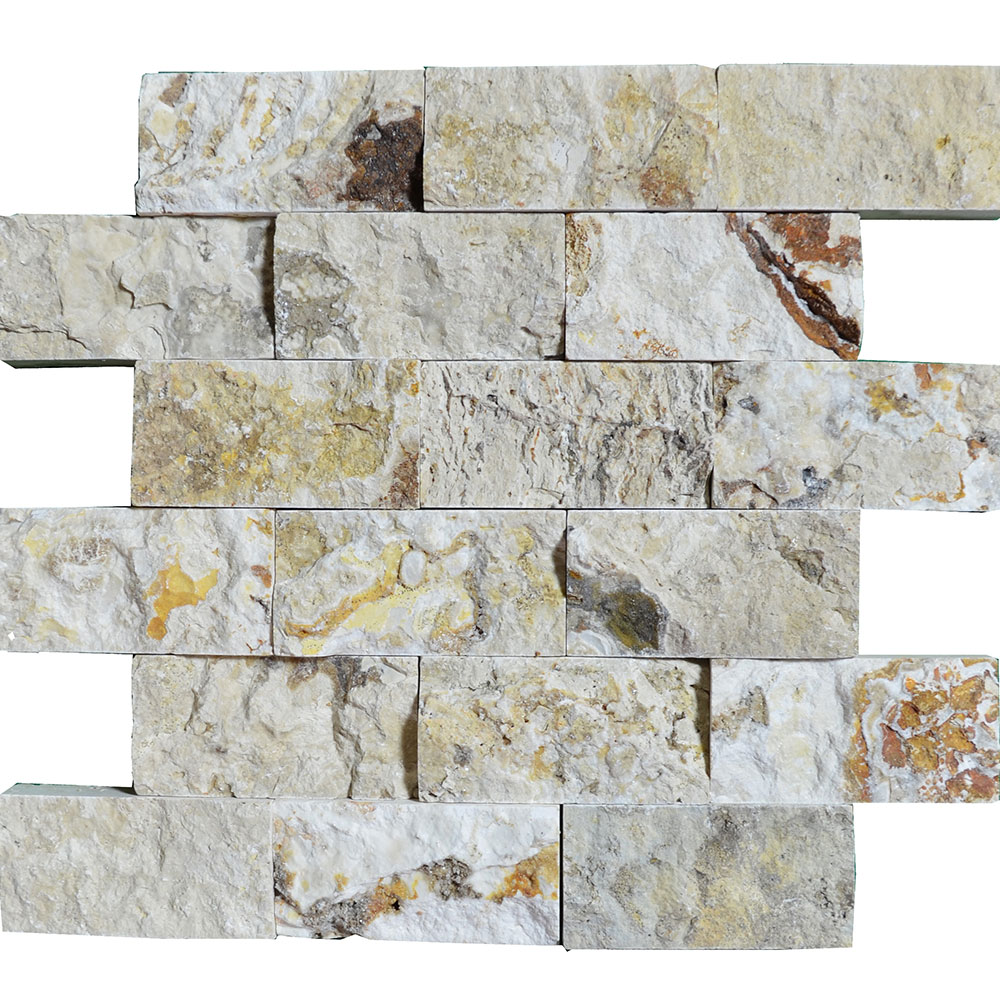 Atlantic Stone Source Mosaics Travertine Split Face 2 x 4 Leonardo