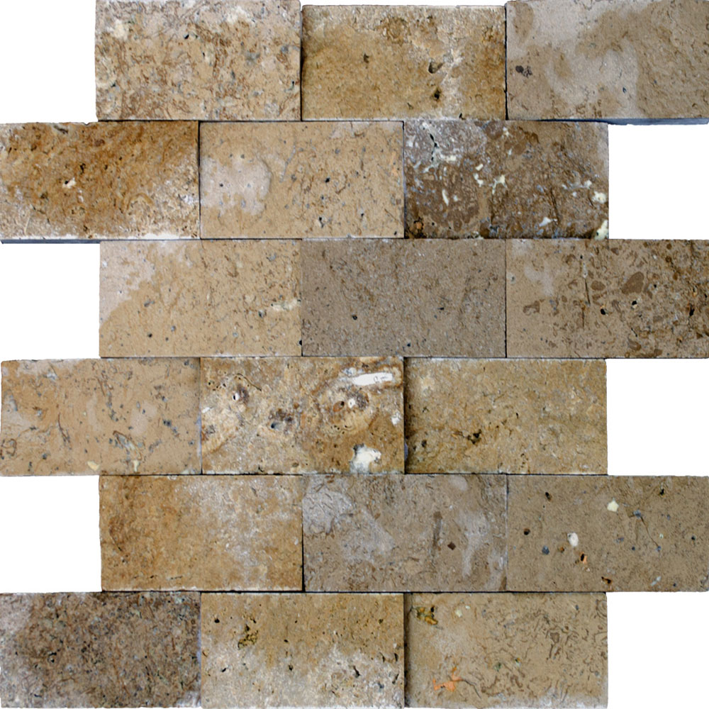 Atlantic Stone Source Mosaics Travertine Split Face 2 x 4 Noce