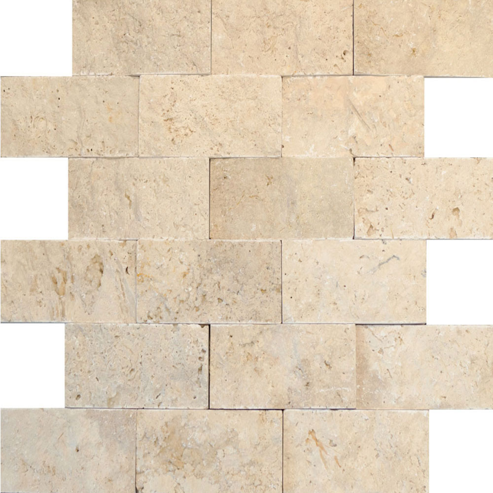 Atlantic Stone Source Mosaics Travertine Split Face 2 x 4 White