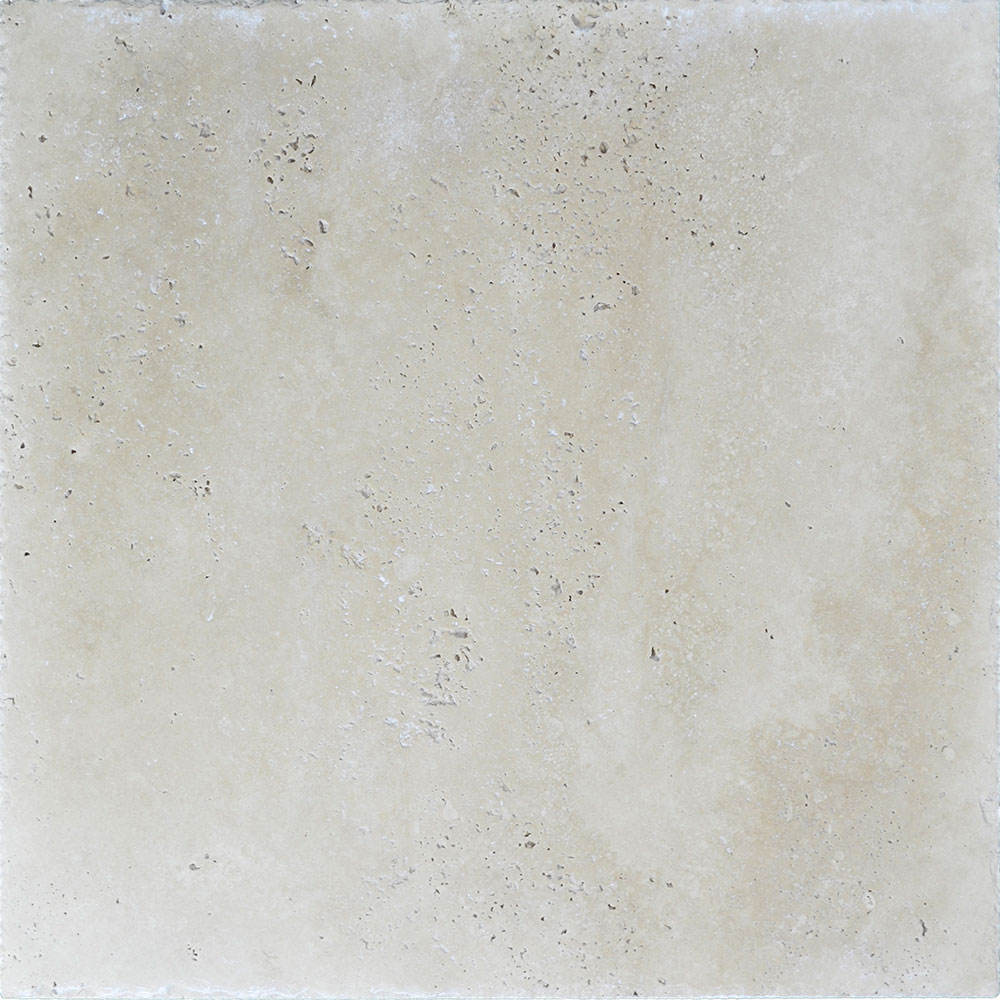 Atlantic Stone Source Travertine 18 x 18 Brushed and Chiseled Ivory