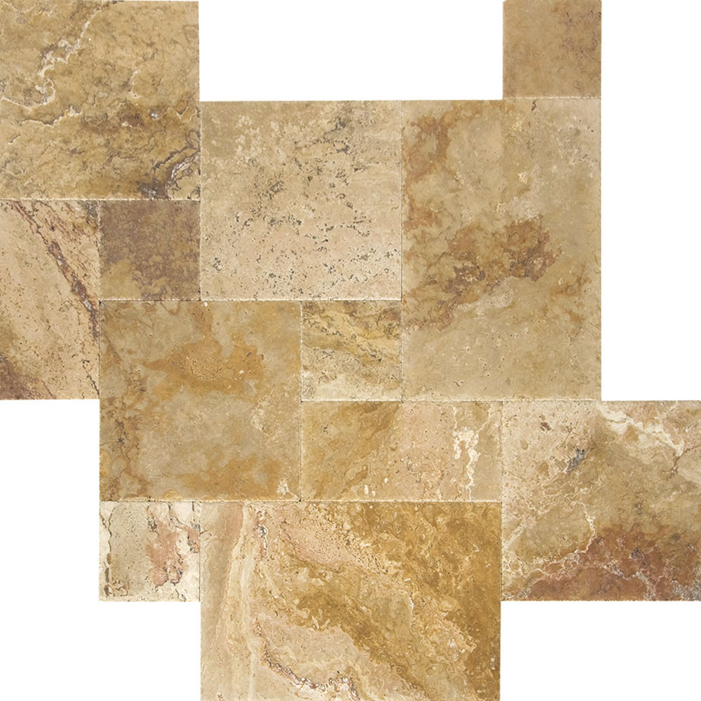Atlantic Stone Source Travertine French Pattern Brushed and Chiseled Antique Blend