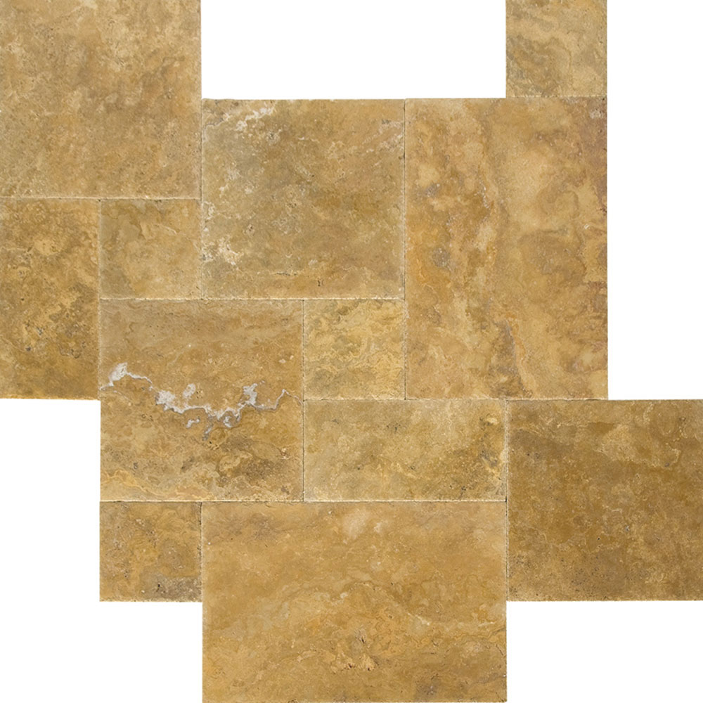 Atlantic Stone Source Travertine French Pattern Brushed and Chiseled Gold