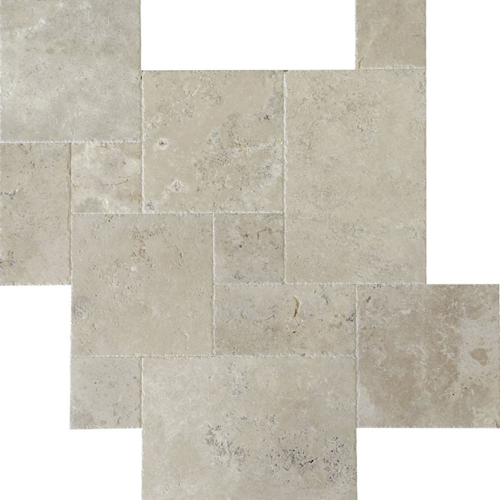 Atlantic Stone Source Travertine French Pattern Brushed and Chiseled Ivory Classic