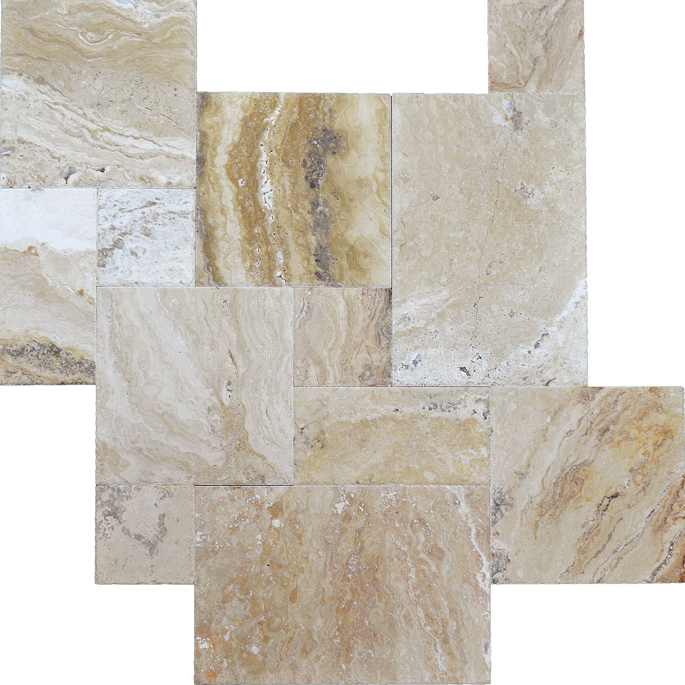 Atlantic Stone Source Travertine French Pattern Brushed and Chiseled Leonardo