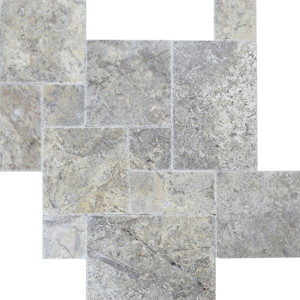 Atlantic Stone Source Travertine French Pattern Brushed and Chiseled Silver