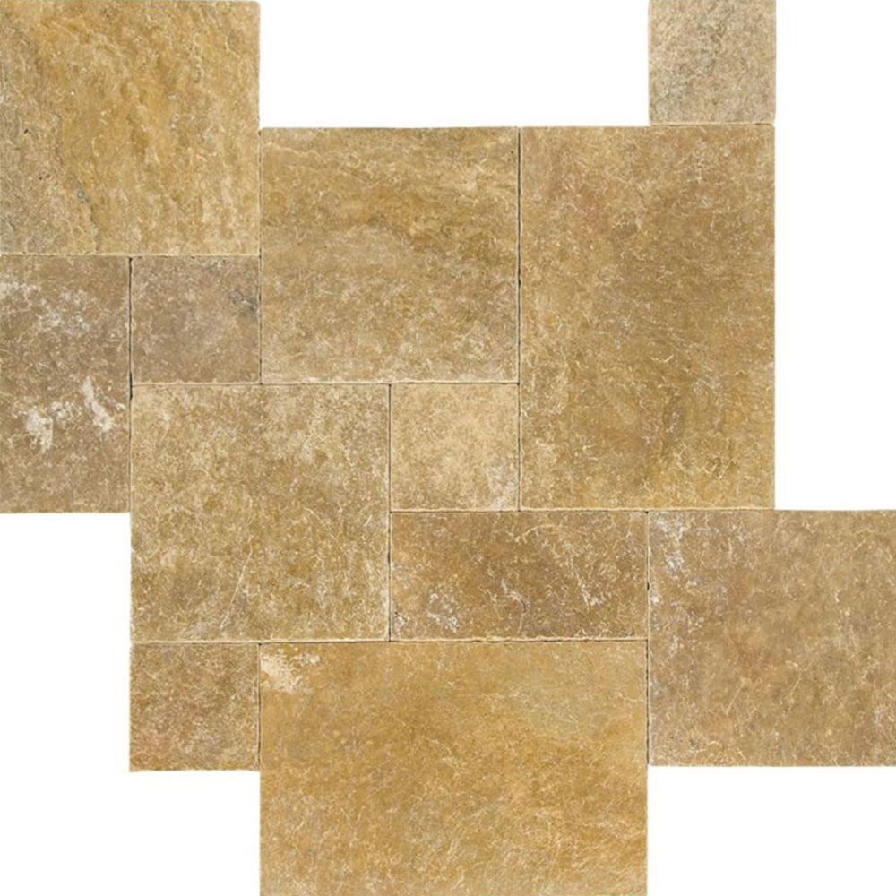 Atlantic Stone Source Travertine French Pattern Tumbled Gold