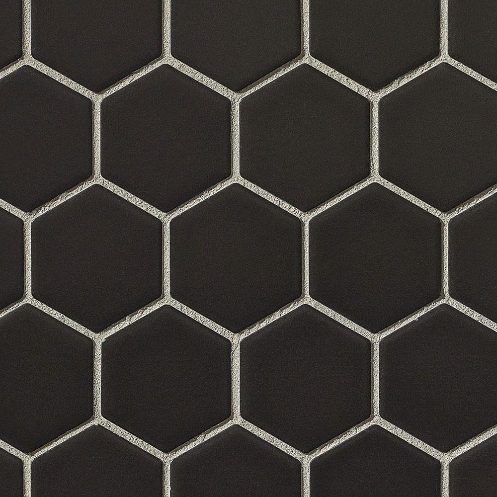 Bedrosians Le Cafe Mosaic Hexagon 2 X 2 Black Matte